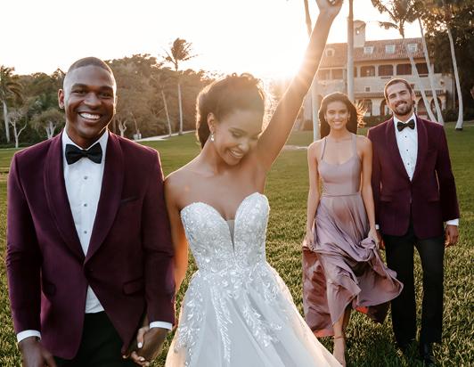 A trio of tuxedo wedding tips